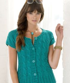 Free knitting pattern for Anisette Cardigan short sleeve cable
