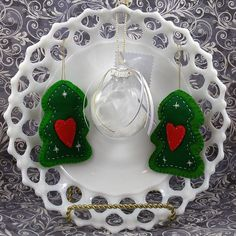 Hand sewn felt Christmas Tree ornaments..
