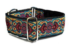 Martingale Collar or Buckle Dog Collar - Marseilles Jacquard in Red and Blue - 2 Inch, Greyhound Collar, GreatDane Collar, Custom Dog Collar