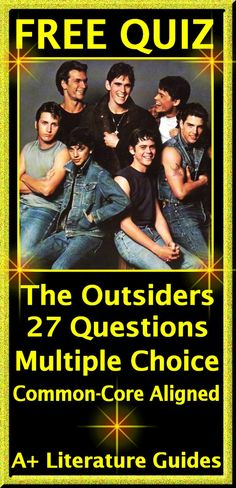 The Outsiders free quiz! Twenty-seven multiple-choice questions, common-core aligned.