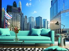 Wrigley Building in Chicago. Wall Mural Photo Wallpaper
