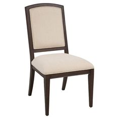 Bring timeless elegance to your dining room table or eat-in kitchen with this stately wood side chair, showcasing a rich coffee bean finish and an upholstere...