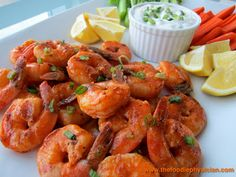 Grilled Buffalo Shrimp with Blue Cheese Dipping Sauce