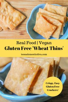 These crispy gluten free crackers are simple to make and require just a few simple ingredients! Homemade gluten free vegan crackers are easy to make! Gluten Free Crackers, Vegan Crackers, Gluten Free Snacks, Vegan Snacks, Vegan Gluten Free, Vegan Food, Healthy Snacks, Dairy Free, Real Food Recipes