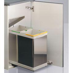 Set cubos de basura automático para reciclaje (2x14L) - 110.84€ - Cubo de reciclaje rectangular de acero inoxidable compuesto por 2 contenedores para la separación de los residuos en tu hogar. Ideal para separar la basura orgánica, del plástico o del papel, por ejemplo. Apertura automática de la tapa. Extracción del cubo a la vez que se abre la puerta. - Tienda online Casaenorden, te ayudamos a organizar tus armarios.