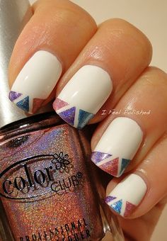 geometric cut outs nail art with holographic polish