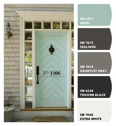 Paint colors from Chip It! by Sherwin-Williams. Paint color scheme featuring greige and mint! All paint colors by Sherwin Williams: SW 6471 - Hazel SW 7675 - Sealskin SW 7019 - Gauntlet Gray SW 6258 - Tricorn Black SW 7006 - Extra White House Paint Exterior, Exterior House Colors, Farmhouse Exterior Colors, Exterior Color Schemes, Exterior Design, Diy Exterior, Black Exterior, House Ideas, Decoration Inspiration