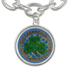Blue Shamrock On Celtic Knots Charm Bracelet http://www.zazzle.com/blue_shamrock_on_celtic_knots_charm_bracelet-256830004366455821?rf=238271513374472230