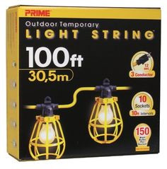 Prime LSUG2835 100-Feet 10-Bulb 12/3 SJTW Outdoor Temporary Light String, Yellow by Prime. $185.55. From the Manufacturer                Prime outdoor temporary light strings are designed for safety and durability when temporary lighting is required. Cold weather vinyl jacket gives added strength and flexibility at temperatures below freezing. Molded-on, weather resistant lamp holders and plastic lamp guards are spaced at 10-Feet intervals for even illumination.