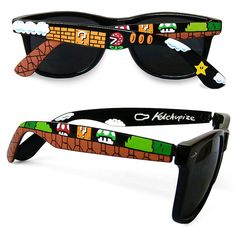 Super Mario Sunglasses - Custom Wayfarer sunglasses unique hand painted - Piranha Plant - Question block - 1UP Mushroom op Etsy, 37,00 €