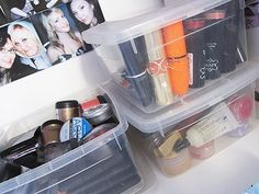 Cute little tubs like these ones are a great way to store and see your makeup! #makeup #storage