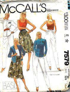 McCall's 7579 Basile Jacket, Pleated Pants and Skirt Pattern, Size 10, UNCUT by DawnsDesignBoutique on Etsy