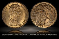 1967 Bahamas/New Zealand Two Cent Mule ANACS MS64RB