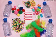 Sensory bottles for baby (Montessori awakening activity) Montessori Activities, Infant Activities, Educational Activities, Activities For Kids, Diy For Kids, Crafts For Kids, Diy Crafts, Kindergarten Pictures, Sensory Bottles