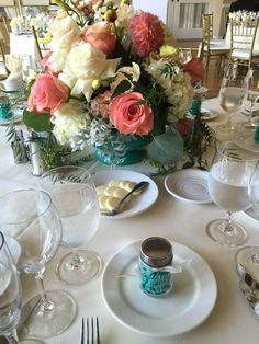 Real and coral wedding  Altadena Town and Country Club