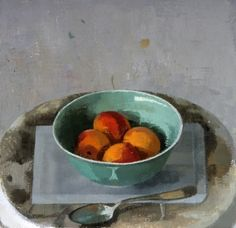 """Susan Jane Walp, Bowl of Apricots with Spoon, oil on linen, 9 x 9.25"""""""