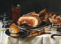 Breakfast piece with ham on a pewter plate smoked herring beer glass loaves of bread mustard-pot and smoking utensils on a draped table by PieterClaesz Dutch Still Life, Still Life Art, Pewter Plates, Dutch Golden Age, Baked Ham, Vanitas, Art Google, Be Still, Meals