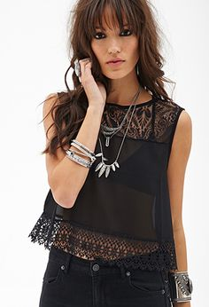 Sheer Lace & Crochet Top | FOREVER21 - 2000120370