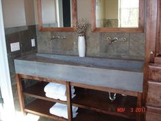 Custom Concrete Trough Sink - contemporary - bathroom sinks - cool feel of natural materials and white - overall too dark though