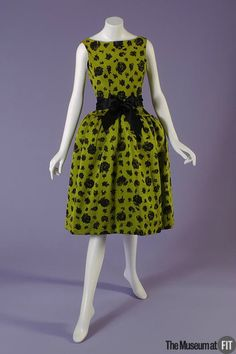 Cristobal Balenciaga (French, founded 1949), Dress, 1959. Chartreuse and black chiné printed silk ottoman. Gift of Kay Kerr Uebel.75.170.1. The Museum at FIT 2012 © The Museum at FIT.