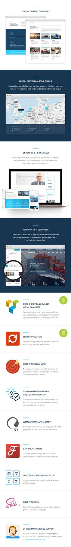Transcargo is the best transportation and logistics business WordPress theme.  	Using Transcargo you can easily create a modern website and start promoting your services. We studied and rese...
