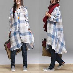 Washed linen plaid longsleeved shirt / lapel irregular by dreamyil, $99.00