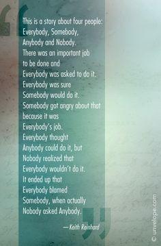 Everybody, Somebody, Anybody, Nobody: clever ever after. Enjoy:)