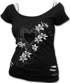 Top Pure of Heart de Spiral #corazon #heart #flores #flowers #rock #metal #goth #ropa #gotica #slashed #xtremonline