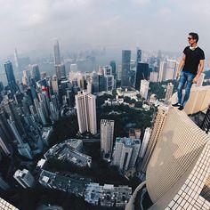 Hero @beerkus living to the edge in Hong Kong. #GoPro #hongkong #city #skyline