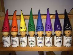 Musical gnomes for Mr. Reedy's Waldorf classroom! Great way to teach music notation. Music Lessons For Kids, Music For Kids, Preschool Music, Music Activities, Wood Peg Dolls, Waldorf Crafts, Music Crafts, Music And Movement, Music School