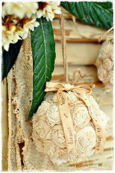 Burlap ball Visit & Like our Facebook page: https://www.facebook.com/pages/Rustic-Farmhouse-Decor