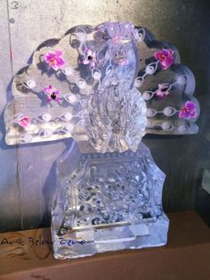 Peacock with Orchids Ice Sculpture