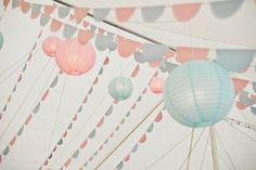 vintage wedding with pastel inspiration -- bunting and paper lanterns! Pastel Wedding Theme, Pastel Party, Vintage Wedding Theme, Wedding Themes, Wedding Colors, Wedding Decorations, Pastel Weddings, Blue Weddings, Spring Weddings