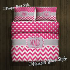 Polka dot and Chevron Duvet with 2 Matching by PAMPERYOURSTYLE, $179.00 Chevron Bedroom Teenager Bedding Dorm Bedding