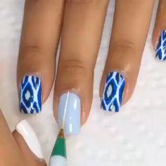 Purple Nail Art, Blue Acrylic Nails, Blue Nails, Leopard Nails, Cute Nail Art Designs, New Nail Designs, Nail Design Video, Modern Nails, Spring Nails