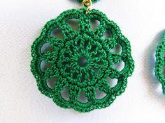 Brinco de Crochê Anelise verde REF: 0001