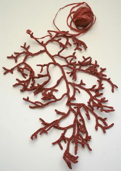 Red Coral Crocheted from plastic bag yarn by Helle of Gooseflesh
