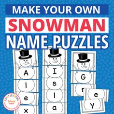 Make customized snowman theme name puzzles for your kids. Teach name recognition and teach kids how to spell their names with these editable snowman puzzle templates. This fun activity is perfect for your winter, holiday, and snowman theme unit or lesson plans.Use this high-interest activity in yo... Preschool Name Recognition, Preschool Names, Pre K Activities, Name Practice, Kid Fonts, Name Puzzle, Planner Pages, Winter Holiday, Winter Theme