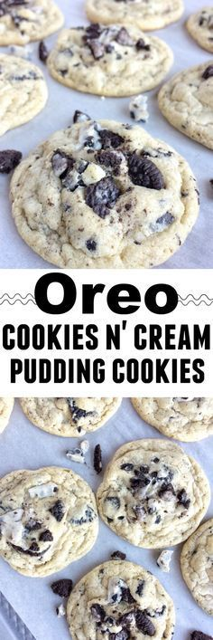 Oreo cookies & cream pudding cookies are thick, super soft thanks to the pudding mix in the dough, and totally addictive! Cookies n cream chocolate candy bars, Oreo pudding mix, and Oreo cookies are a (Chocolate Cream Pudding) Oreo Desserts, Just Desserts, Delicious Desserts, Yummy Food, Oreo Cookie Recipes, Oreo Treats, Oreo Cookies, Oreo Pudding Cookies, Chocolate Cookies
