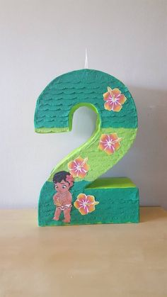 Number pinata inspired by Moana Moana Decorations, Hawaiian Party Decorations, Diy Birthday Decorations, Moana Theme Birthday, 2nd Birthday Parties, Moana Party, Bird Template, Birthday Numbers, Disney