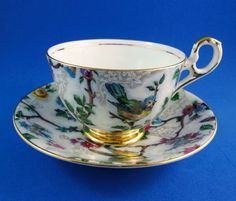 "Pretty Bird & Floral Chintz "" Lorna Doone "" Old Royal Tea Cup and Saucer Set"