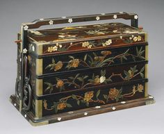 Picnic basket, Qing dynasty, 19th century  China  Zitan wood with metal corner mounts, inlaid with mother-of-pearl and semiprecious stones