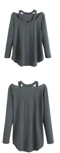 Dark Gray V Neck Cold Shoulder Long Sleeve T-shirt