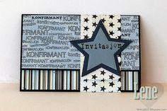 card envelope star stars communion confirmation of faith, invitation, - kort invitation konfirmation, stjerne stjerner Card Envelopes, Diy Cards, Diy And Crafts, Card Making, Scrapbook, Stars, Frame, How To Make, Inspiration