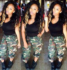 Pretty Girl Swag Army Green Camo Pants Streetwear Urban Fashion Casual Dope Style Trend Black Beauty