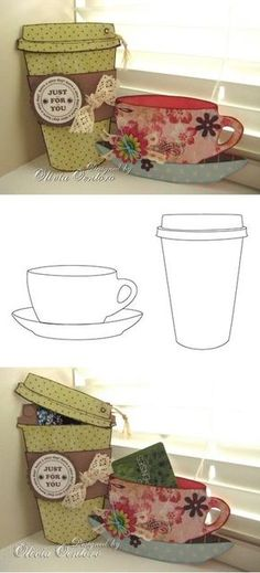 Free coffee cup & tea cup templates, from Liv at xhCreations! You could use these for cards, place holders, a thank you, to give a gift card for coffee and lots more! 3d Templates, Coffee Cards, Shaped Cards, Card Tutorials, Cute Cards, Gift Cards, Paper Gifts, Scrapbook Cards, Homemade Cards