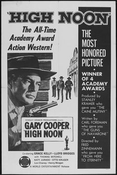 """""""High Noon"""" in 1952 directed by Fred Zinnemann (Vienna 1907 - London 1997). American Western Film. The film tells in real time the story of a town marshal forced to face a gang of killers by himself. The screenplay was written by Carl Foreman. The film is 27 on the American Film Institute's 2007 list of great films. The film won four Academy Awards: Best Actor (Cooper), Best Film Editing, Best Music and Best Music Song."""