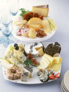 Beautiful multi-teir cheese plate ideas. Ciuld borrow the plates to stack.  International Cheese Platter  Savoury Cheese Plate for Buffet