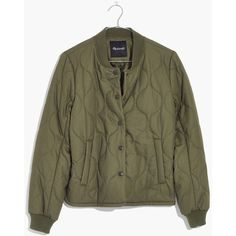 MADEWELL Quilted Military Jacket ($128) ❤ liked on Polyvore featuring outerwear, jackets, military surplus, military parka, quilted jackets, quilted bomber jackets, army bomber jacket and military style jacket