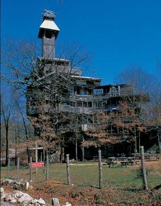 The inspiration for this sprawling treehouse cathedral came in a flash from the heavens 18 years ago to Horace Burgess of Crossville, Tennessee. Burgess has worked on the structure ever since, using wood reclaimed from five different barns. When church isn't in session, the spacious interior serves as a basketball court.